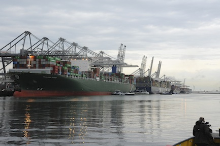 Container vessels in Amazonehaven (ECT  Terminal at Maasvlakte) which is just widened Photo by Ries van Wendel de Joode