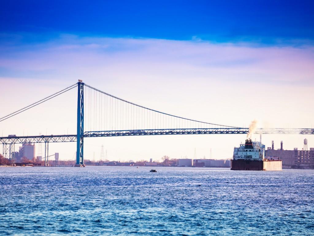 Ambassador Bridge linking Windsor Canada and Detroit USA