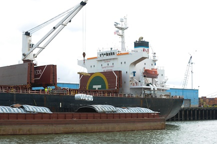 Steel is offloaded at the Port of New Orleans Nashville Avenue Terminal recently. In 2013, trade between New Orleans and India totaled 150,092 tons, a majority of which was imported steel into New Orleans. Port officials hope to grow trade between New Orleans and India through a new agreement with Samsara Shipping.