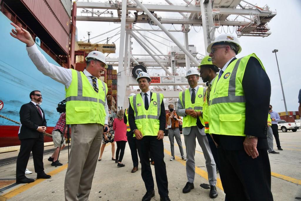Governor Larry Hogan and U.S. Transportation Secretary Pete Buttigieg at Maryland's Helen Delich Bentley Port of Baltimore