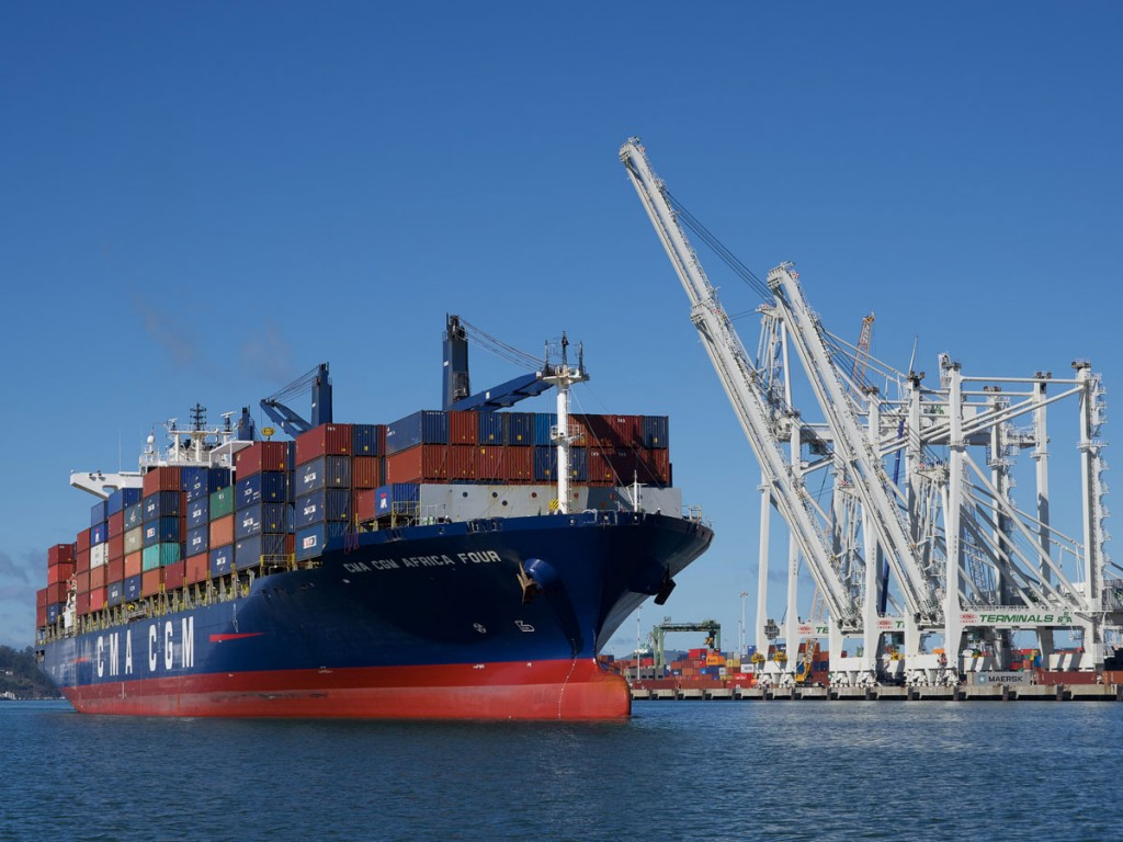 CMA CGM first call service ship at Oakland