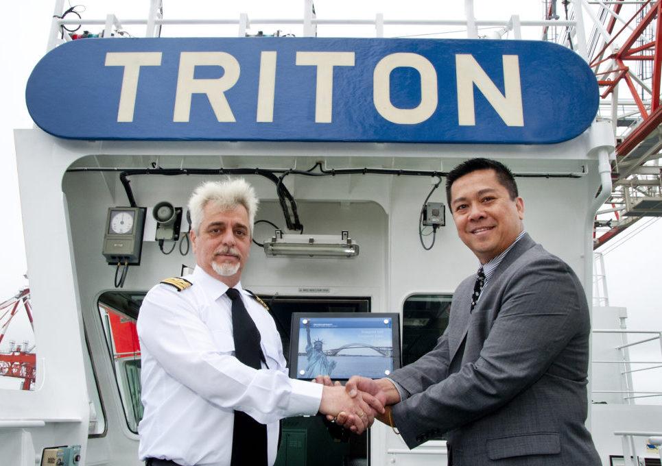 Pictured above Captain Markos Pragias with Rado Saragih of the Port Authority of NY & NJ.