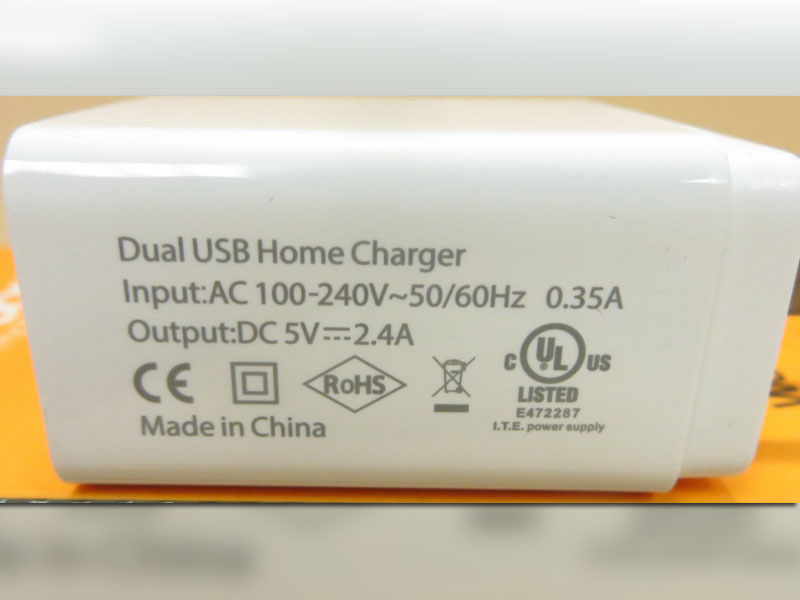 Wall Chargers with Counterfeit UL Markings
