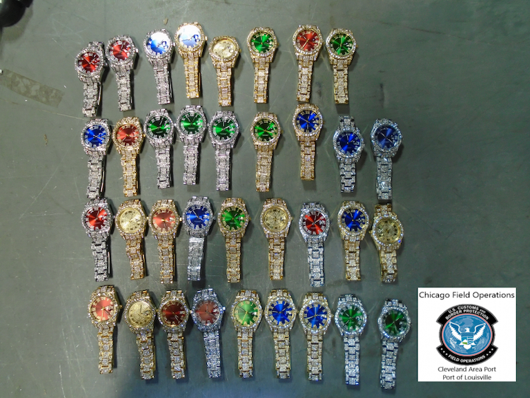 Counterfeit watches like these continue to pour into the U.S., but CBP officers are seizing these nightly. Louisville CBP recently seized 62 designer watches that could have been worth $2.6 million.
