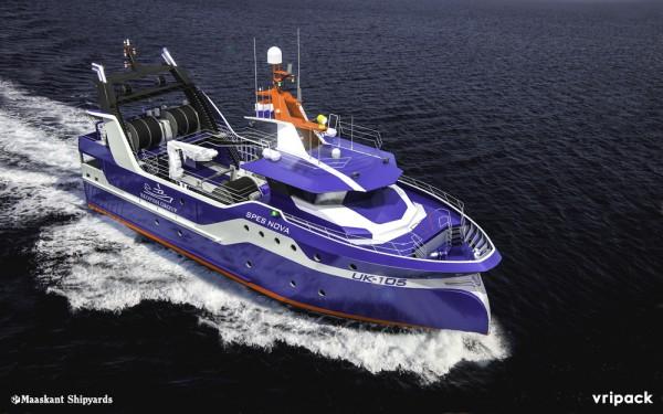 Damen twin-rig fishing trawler (rendering)