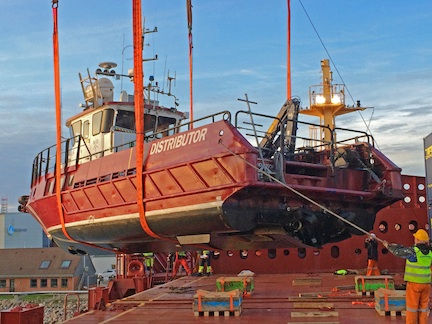 18-meter, 25mts workboat Distributor loaded onto a specialist heavy lit vessel by GAC GPL and GAC Sweden at the Port of Esbjerg, Sweden, bound for Montevideo, Uruguay,