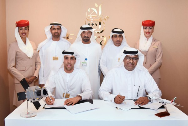 His Highness Sheikh Ahmed bin Saeed Al Maktoum, Chairman and Chief Executive of Emirates Airline and Group, witnessed the signing of the MoU between Emirates SkyCargo and Mohammed Bin Rashid Space Centre