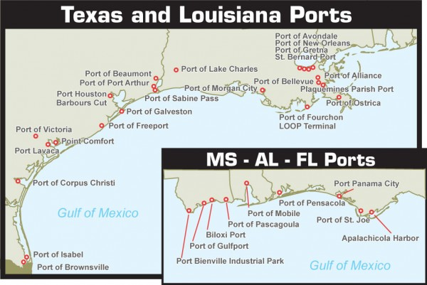 Business And Trade In The Gulf Ports Looks Promising But With A Few - Us-east-coast-ports-map
