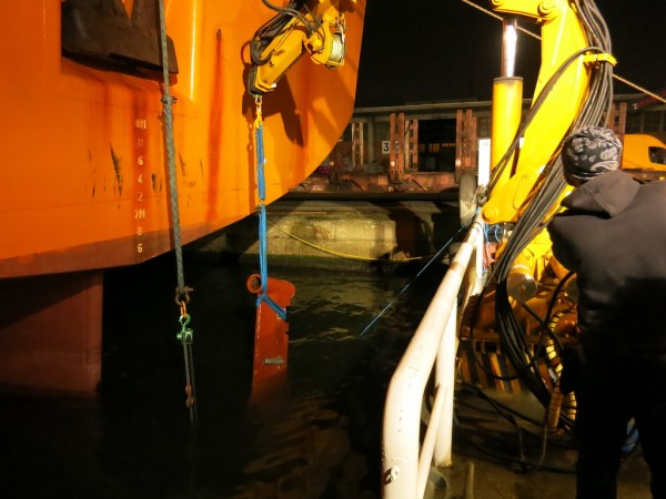 The damaged rudder flap was lifted onto the workboat