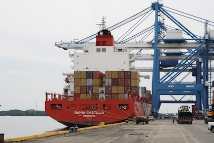 Containers, like those seen here arriving at the Packer Avenue Marine Terminal, have been a standout cargo during the first five months of 2014. TEU's are up almost 29 percent when comparing January to May 2014 with the same period of 2013.