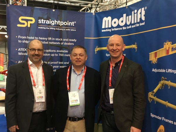 LGH's Phil Smith (left), commercial manager, and Colin Naylor (right), managing director, either side of David Ayling, managing director, Straightpoint, at LiftEx 2017.
