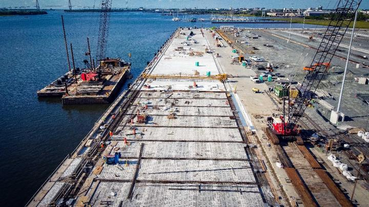 Work progresses on the 1,400-foot-wharf for Phase One of the Leatherman Terminal, the country's newest container terminal, opening in March. (Photo/SCPA/Walter Lagarenne)