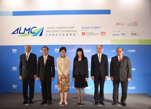 (L-R) Tung Chee Chen, Chairman, HKTDC Logistics Services Advisory Committee; Arkhom Termpittayapaisith, Minister of Transport of Thailand; Carrie Lam, Chief Executive of the HKSAR; Margaret Fong, Executive Director of the HKTDC; Frank Chan, Secretary for Transport and Housing of the HKSAR and Dr Victor K Fung, Group Chairman, Fung Group attended the opening ceremony.