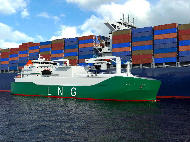 LNG bunkering vessel supplying a containership