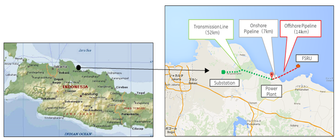 The FSRU will be placed 14km offshore in the Cilamaya Sea, east of Jakarta. The power plant will be newly constructed on shore near the FSRU site, and connected to the FSRU via a pipeline about 21km long.
