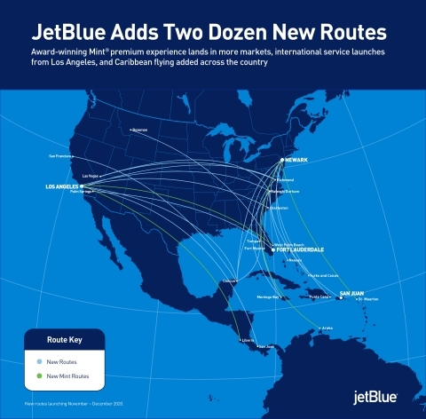jetblue adds two dozen new routes in markets with strengthened demand potential ajot com jetblue adds two dozen new routes in