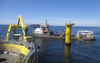 The Ndeavor operating at Sandbank Offshore Windfarm