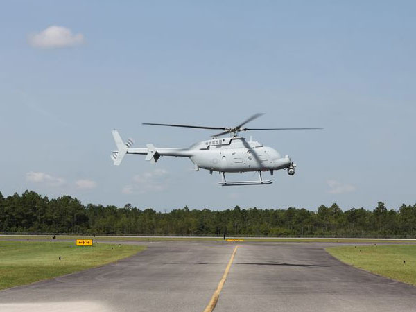 Northrop Grumman's MQ-8C Fire Scout takes off for its first flight out of Trent Lott International Airport in Moss Point, Miss.