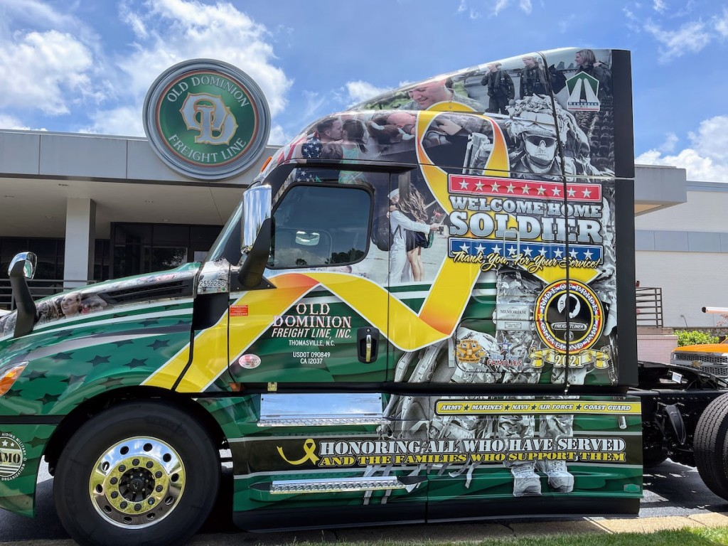 Old Dominion Freight Line's new Ride of Pride-wrapped tractor from Daimler Trucks sits on display outside OD's corporate office in Thomasville, N.C.