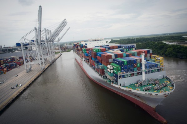 More than 9,500 TEUs were moved on and off of the OOCL France, one of two 13,000-plus TEU vessels to call the Port of Savannah within 21 days. The arrival of larger vessels, including the OOCL France, contributed to a record-breaking month for the Georgia Ports Authority. (Georgia Ports Authority)