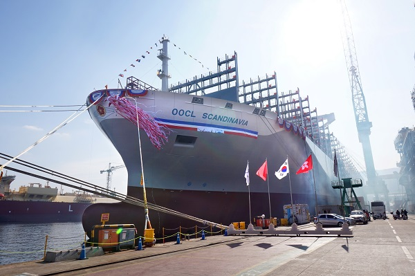 The OOCL Scandinavia unveiled at the christening ceremony held at the SHI shipyard