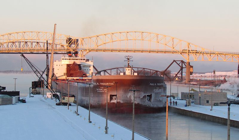 The Paul R. Tregurtha, at 1,013 feet long and considered the longest ship on the Great Lakes, eases into the Poe Lock. U.S. Army Corps of Engineers photo by Michelle Hill.