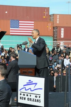 President Obama speaking at the Port of New Orleans