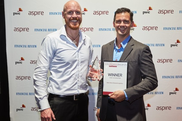 Geoff Rowan and Kai Lincoln with SEKO's Start-up Disruptor award
