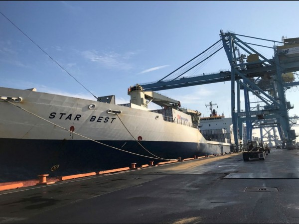 M/V Star Best discharge operations Dec. 27, 2018 at the Port of Wilmington, Delaware.
