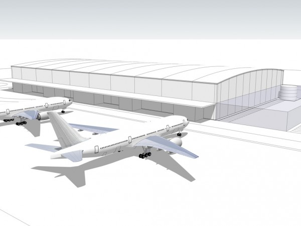 The initial concept drawing for the new terminal at Oslo Airport