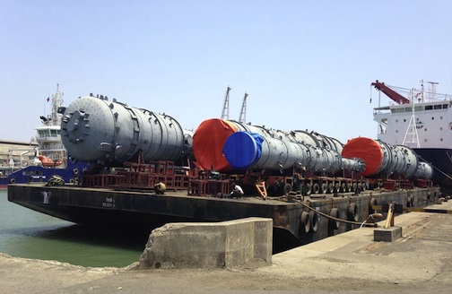 Tanks for a Nigerian gas compression plant are loaded on a Safmarine MPV vessel.