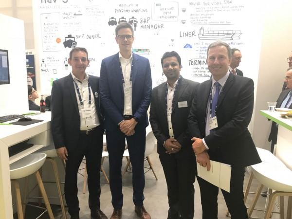 (L-R) Bastian Gehnke of Navis, Thiemo Ullrich from Zeaborn, an Yuvraj Thakur and Julien Dufour of Verifavia Shipping at SMM 2018