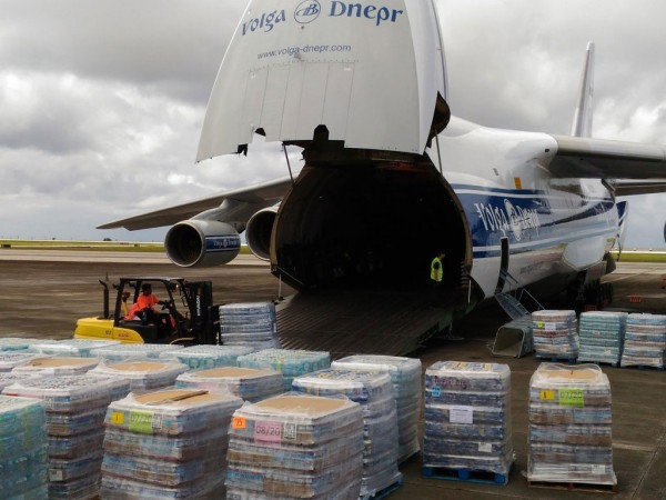 Volga-Dnepr's An-124-100 freighter carried 64 tons of food supplies and bottled water to Guam.