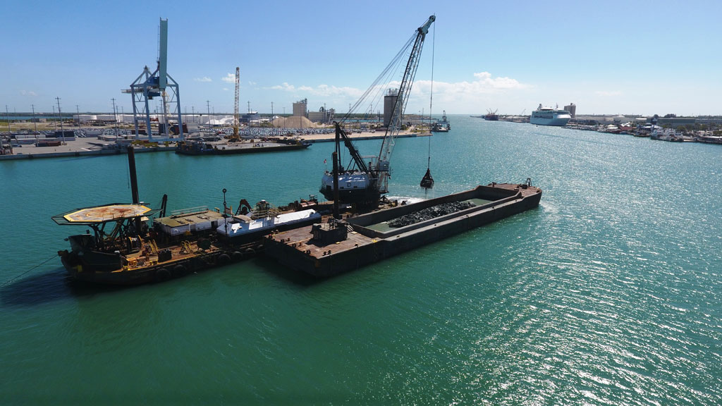 West Turning Basin during dredging operation at Port Canaveral