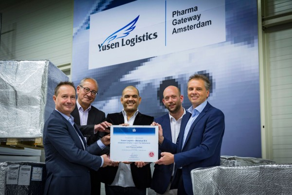 Yusen Logistics Benelux awarded IATA-CEIV Pharma certification at Amsterdam Schiphol Airport.