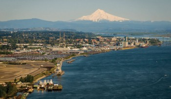 Aerial view of the Port of Vancouver USA with Mount Hood in the background.