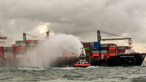 Container ship ablaze off Colombo threatens chemical, oil spill