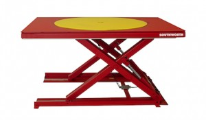 Low collapsed height lift table is ideal for palletizing applications