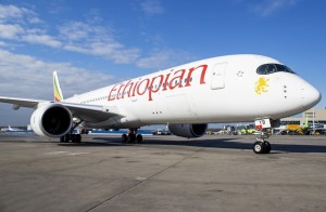 New Airbus A350 of Ethiopian Airlines was met at Domodedovo