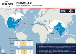 CMA CGM to launch INDAMEX 2 connecting the Indian Subcontinent with the US East Coast