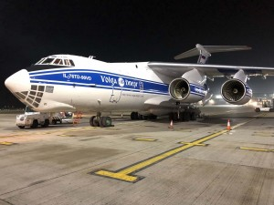 Sequential loading of Volga-Dnepr IL-76TD-90VD freighters reduces ground handling time by six hours for sensitive equipment to China