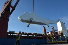 Multi-million dollar helicopters move across JAXPORT's heavy lift dock
