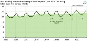 EIA expects increasing consumption of natural gas by US industry in 2021 and 2022