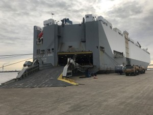 The Port of Wilmington, Delaware celebrates first export shipment of finished Ford vehicles