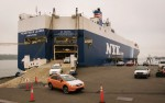 Subaru drives through the Port of Vancouver, USA