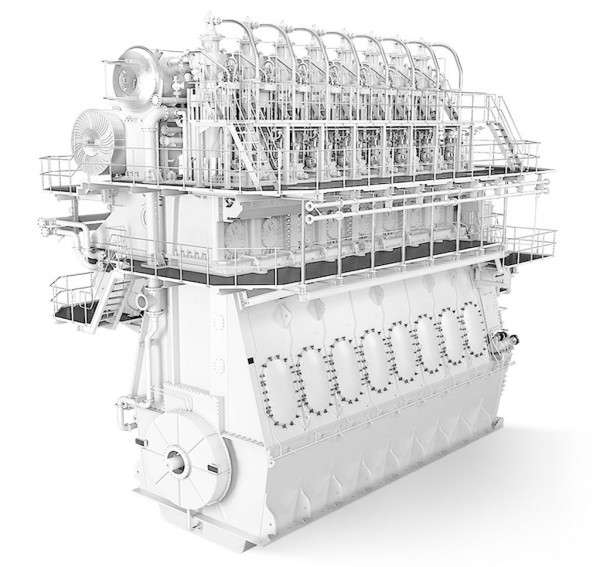 Computer generated image of two-stroke low speed engine with ABB turbocharger applied