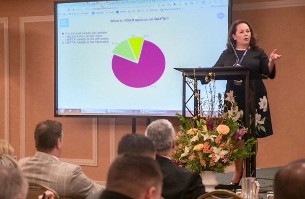 Melissa Pinheiro, BDP International's Corporate Compliance Manager, addresses the assembled crowd at BDP's 29th Annual Regulatory Compliance Seminar, held in Houston in February 2018.]