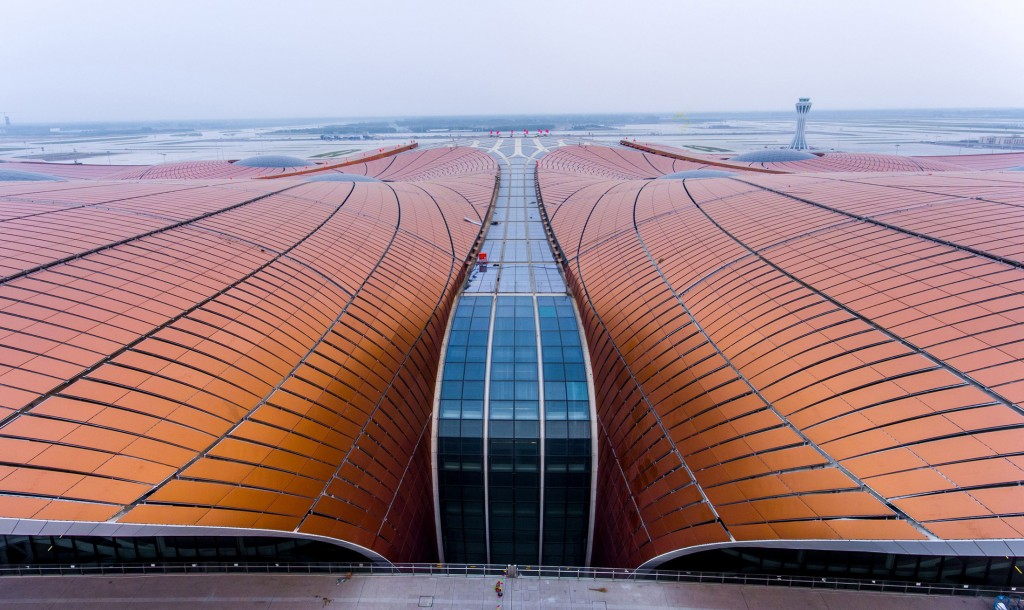 The roof of the new Beijing Daxing International Airport. Photographer: STR/AFP via Getty Images