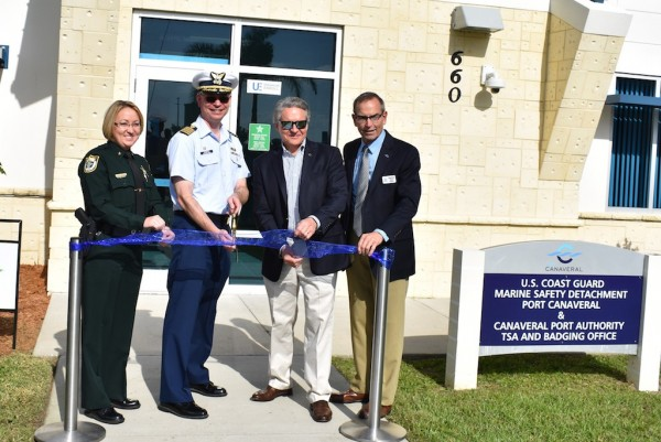 (L to R: Commander Linda Moros, Brevard Sheriff's Office; Sector Jacksonville Commanding Officer Captain Todd Wiemers, U.S. Coast Guard; Captain John Murray, Port CEO; Port Canaveral Commissioner Wayne Justice)