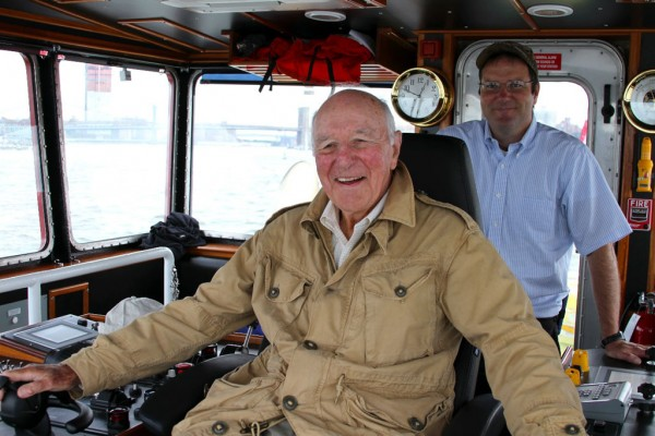 The tug's namesake at the controls. Steering the first Tier IV tug on the US East Coast. (Chairman Captain Brian A. McAllister and President Buckley McAllister)